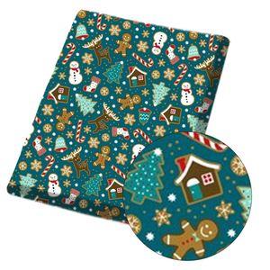 IBOWS Polyester Cotton Fabric Christmas Celebration Theme Printed Cloth Fabric Handmade Crafts Garment DIY Material 45*150cm/pc