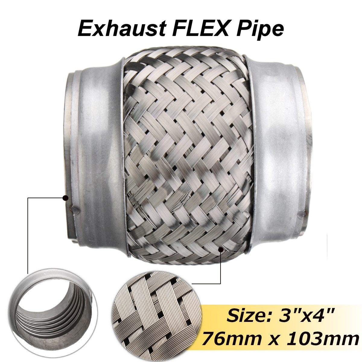 auto parts and vehicles 3 5 exhaust flex pipe 3 1 2 x 10 ol heavy duty stainless steel interlock us car truck exhaust pipes tips