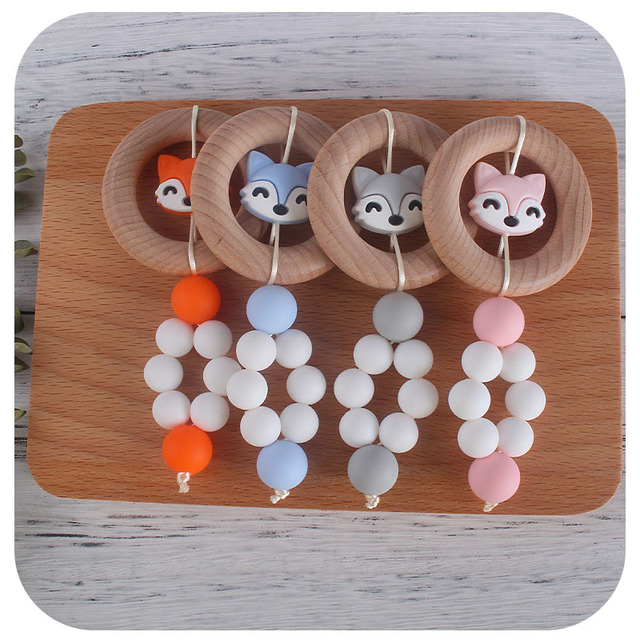 Xcqgh chocalho do bebê brinquedo faia de madeira anel e raposa contas de silicone bebê menino menina mordedor brinquedo