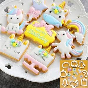 8Pcs/Set DIY Cute Cartoon Unicorn Horse Shape Fondant Cake Cookie Cutter Mold Biscuit Decorating Moulds Kitchen Baking Tools