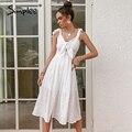 Simplee хлопковое платье без рукавов с вышивкой и v-образным вырезом белое ТРАПЕЦИЕВИДНОЕ ПЛАТЬЕ средней длины с высокой талией повседневное ж...