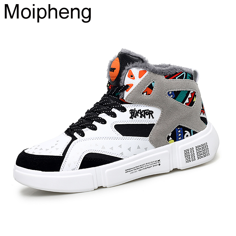 Moipheng High Top Sneakers Warm Winter Plush Women Shoes Graffiti Platform Sneakers White Lover Shoes Size 11 Zapatos De Mujer