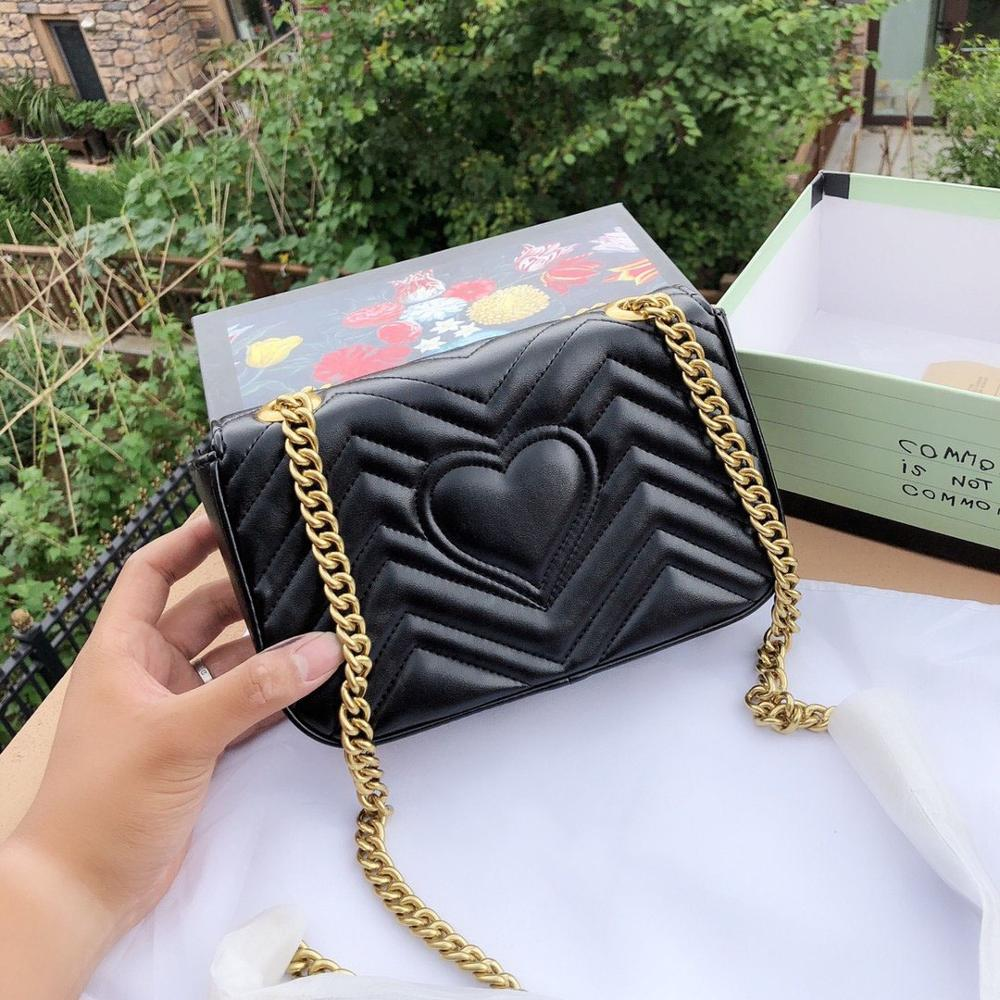Luxury Design Famous Brand Women Bag High Quality Chain Handbag Heart-shaped Shoulder Bags