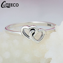 Cuteeco Summer Collection Brand Silver Love Heart To Ring Double Fine Jewelry For Women Engagement Accessories