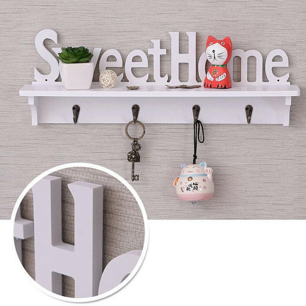 Sweet Home Key Hook Home Decoration Hanger Plastic Wood Wall Mounted Hanger Shelf/Coat Hat Clothes Rack Hooks & Rails     - title=