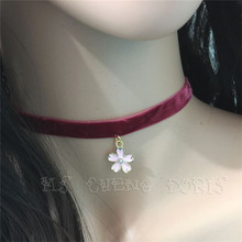Hot Sale Wine Red Velvet Choker Necklace Plain Ribbon With Pink Cherry Blossoms Handmade Retro Jewelry For Women Girls Gift(China)
