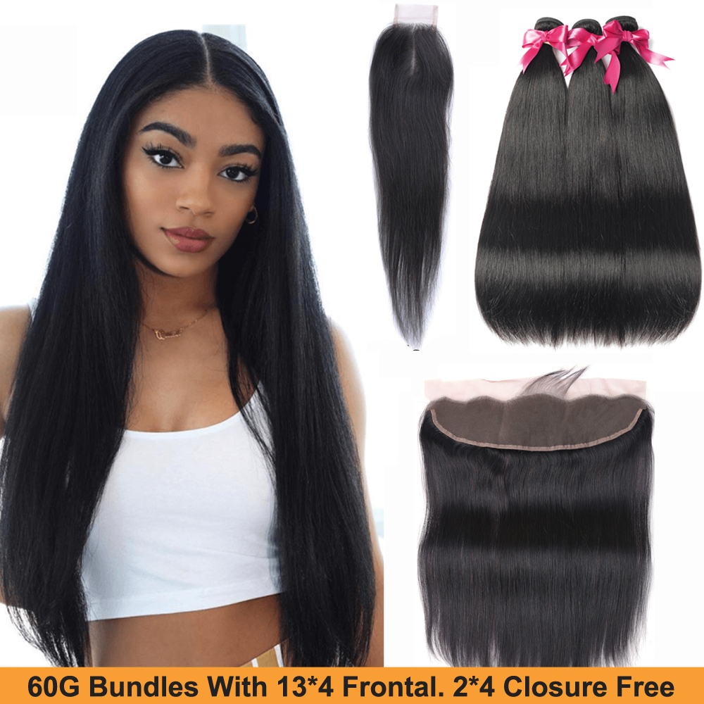 Sapphire Straight Hair Bundles With Frontal Remy Human Hair Bundles With Closure Brazilian Hair Weave Bundles With Closure