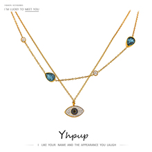 Yhpup Exquisite Eye Layered Pendant Chain Necklace Luxury Crystal Rhinestone Stainless Steel Choker Necklace Accessories Gift