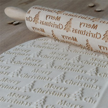 Christmas Embossing  Baking Cookies Biscuit Cake Engraved Roller Wooden Elk Letters Pattern 35cm*4.3cm