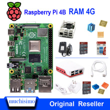 Original Raspberry Pi 4 รุ่น B 4B พร้อม RAM 4GB 1.5GHz 2.4/5.0 GHz WIFI Bluetooth 5.0 พัดลมระบายความร้อนฮีทซิงค์แหล่งจ่ายไฟ 2019