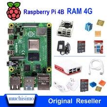 Oryginalny Raspberry Pi 4 Model B 4B z pamięcią RAM 4GB 1.5GHz 2.4/5.0 GHz WIFI Bluetooth 5.0 przypadku radiator chłodzenia zasilanie 2019