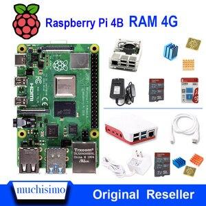 Image 1 - Оригинальный Raspberry Pi 4 Model B 4B С ОЗУ 4 ГБ 1,5 ГГц 2,4/5,0 ГГц WIFI Bluetooth 5,0 чехол Охлаждающий радиатор источник питания 2019