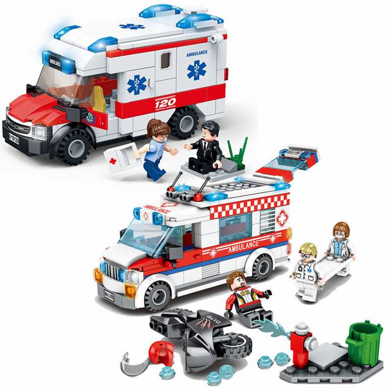 2019 New City Fire Control Series Medical Ambulance Building Blocks Model Sets Bricks Classic For Children Toys Kids Gift