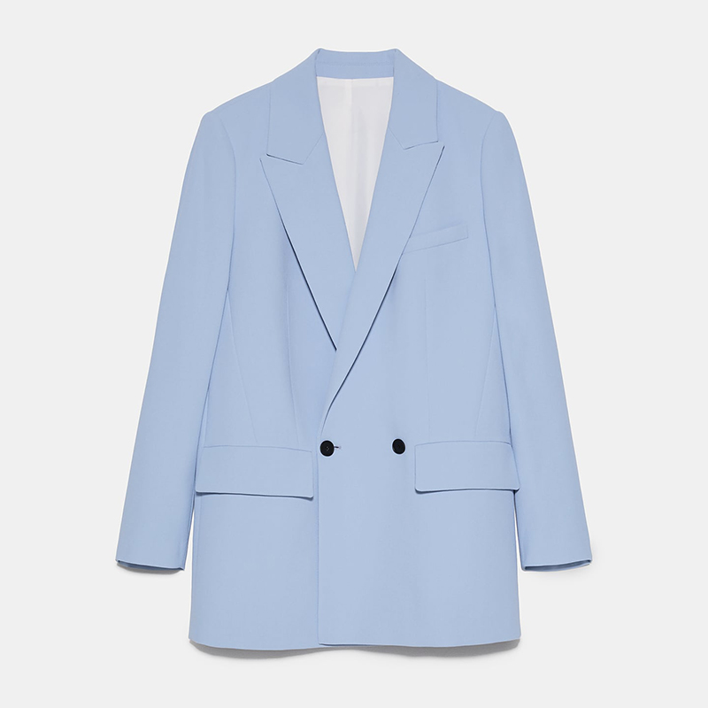 ZA 2020 Women Fashion Solid Color Casual Office Wear Suit Blazer Single Breasted Coat  Long Sleeve Notched Collar Blazer Femme