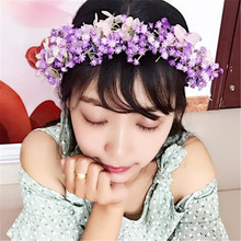 bridal headband wedding headwear festive party supplies photo props babysbreath flower wreath rattan girls women's headbands цена и фото