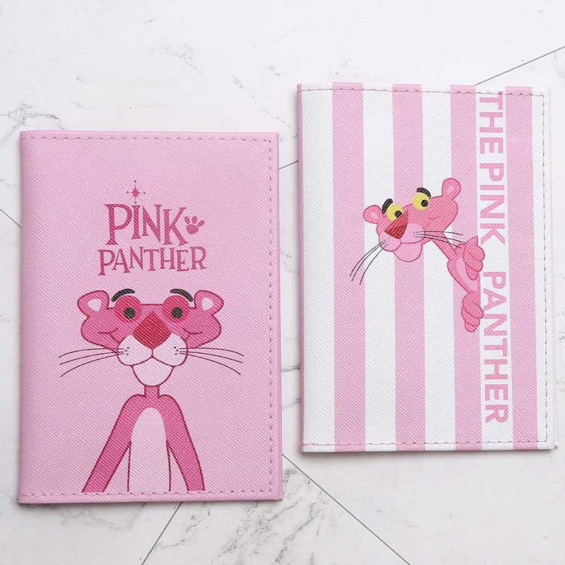 Cute The Pink Panther Animals Cartoon Passport Cover Men Women PU Leather Travel Passport Holder Case Card ID Holders 14.5*10cm
