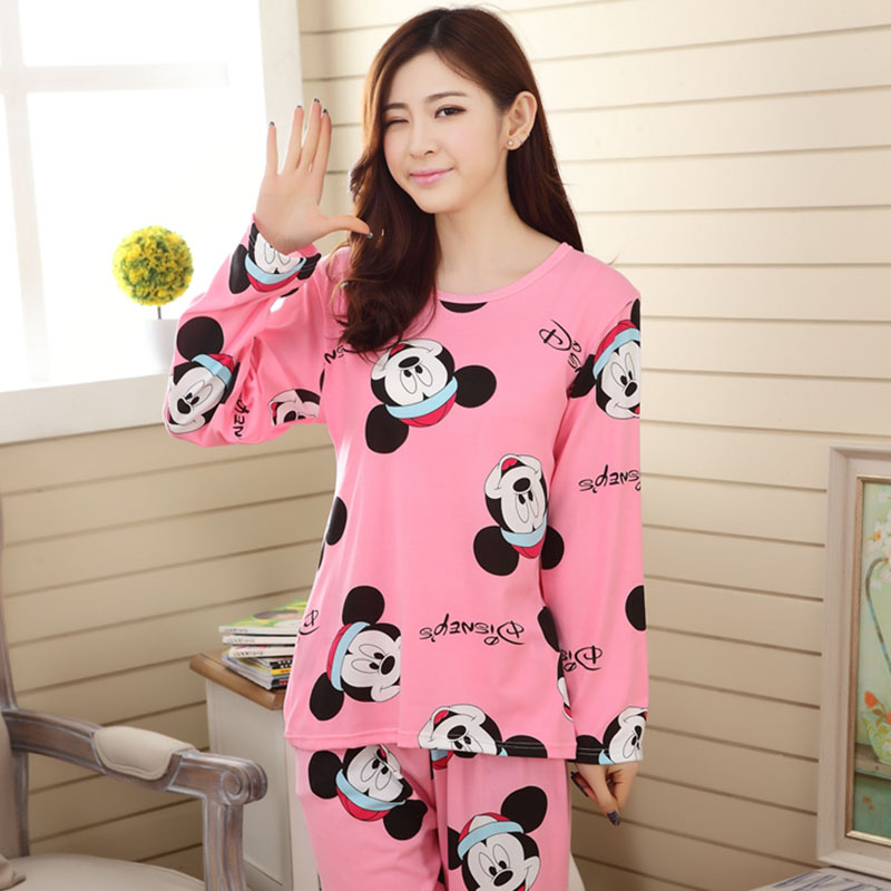 Wholesale Pajamas Sets Spring Autumn 18 Style Thin Carton Generation Polyester Women Long Sleepwear Suit Gift Female Pyjamas Set