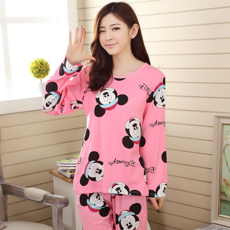 Wholesale Pajamas Sets Spring Autumn 18 Style Thin Carton Generation Polyester Women Long Sleepwear Suit Gift Female Pyjamas Set