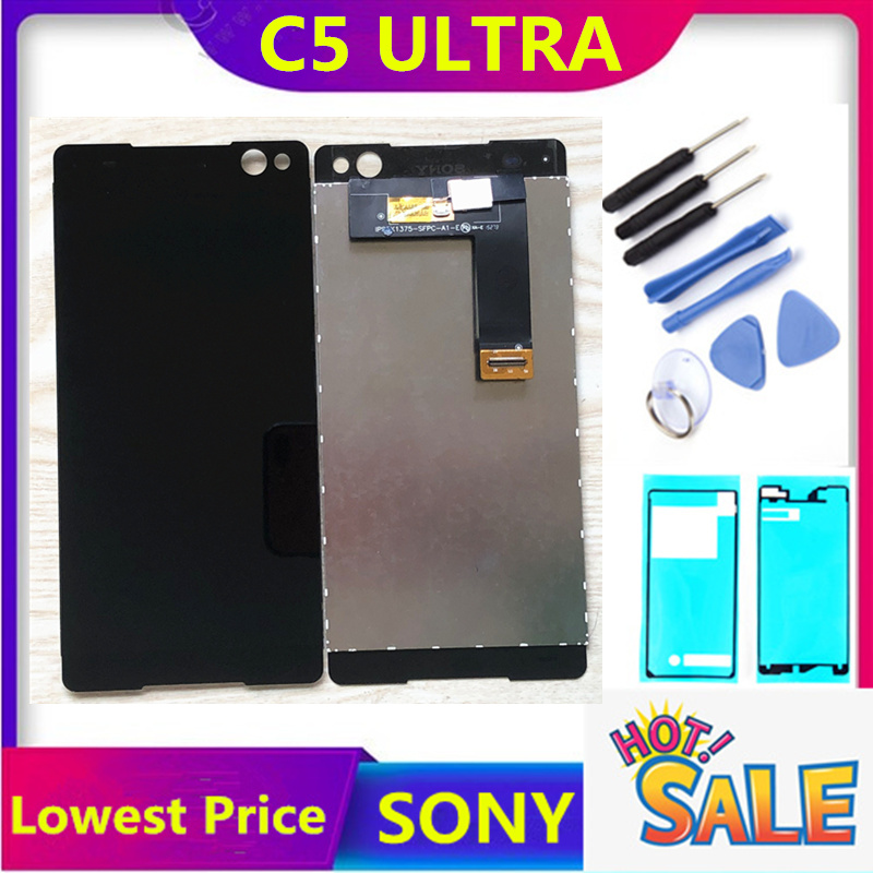 ERILLES Dispaly For Sony Xperia C5 Ultra LCD Screen Display And Touch Screen Digitizer Assembly Black And White Free Shipping