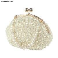 Fashion Artificial Pearls Clutch Evening Bag Women Formal Dinner Handbag Wedding Bridal Purse