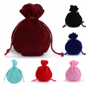 LOULEUR 10pcs/lot 6Color Fashion 7*9cm Velvet Bag Drawstring Pouch Jewelry bag Calabash Shape Packing Wedding/Christmas Gift Bag
