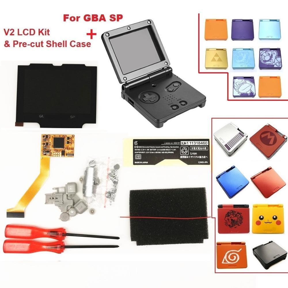 V2 IPS комплекты ЖК экранов для GBA SP Подсветка ЖК экрана 5 уровней яркость V2 экран для консоли GBA SP и предварительно вырезанный чехол|Запасные части| | АлиЭкспресс