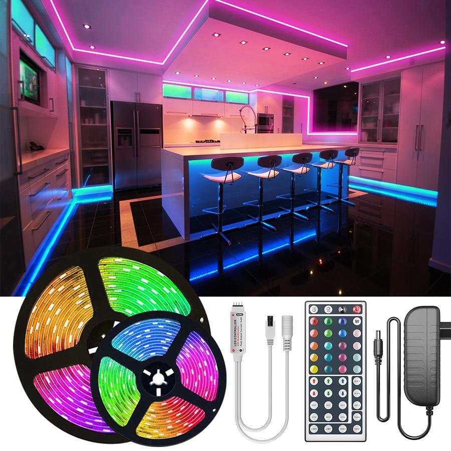 30M 25M RGB LED Strip Light 2835 10M 5M LED Lights SMD 5050 rgb Leds tape diode ribbon Flexible Wateproof Control DC12V Adapter