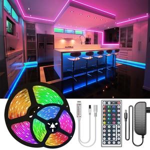 RGB LED Strip Light 2835 10M 5M LED Lights SMD 5050 rgb Leds tape diode ribbon Flexible NON Wateproof Control DC12V Adapter