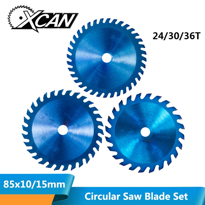 XCAN 1pc 85x10/15mm 24/30/36 Teeth TCT Wood Circular Saw Blade Nano Blue Coating Cutting Disc Carbide Tipped Saw Blade