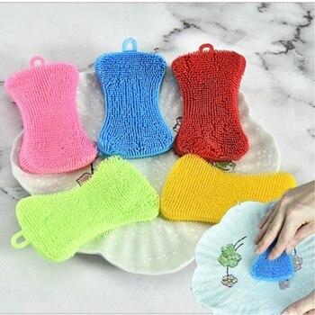 Cepillo de limpieza de cocina de silicona, lavaplatos de frutas y verduras, platos y cacerolas de colores, 5 uds