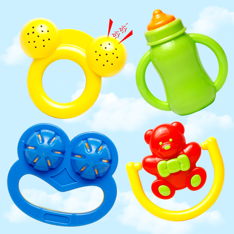 Newborns Educational Toy 4 Pieces In A Set Infants Rattle 0-1-Year-Old Baby To Know Hand Rattle Toy