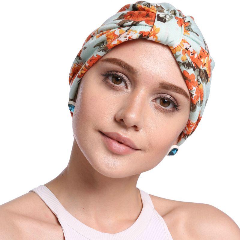 Pastoral Style Women Elastic Cotton Turban Hat Floral Leopard Print Muslim Beanie Chemo Wrap Cap Pleated Knot Front Sleep Bonnet