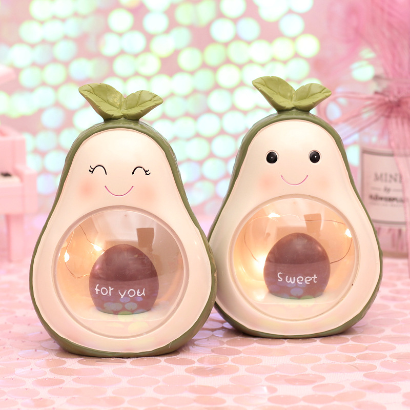 Cute Resin Avocado LED Night Light Fruit Decoration Lamps Baby Nursery Bedside Lamps Toys Christmas Birthday Gift For Kids