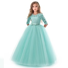 2019 New Princess Lace Dress Kids Flower Embroidery Dress for Girls Vintage Children Dresses for Wedding Party Formal Ball Gown 2019 lace embroidery dress kids dresses for girl princess autumn winter party ball gown children clothing wear dress for girls
