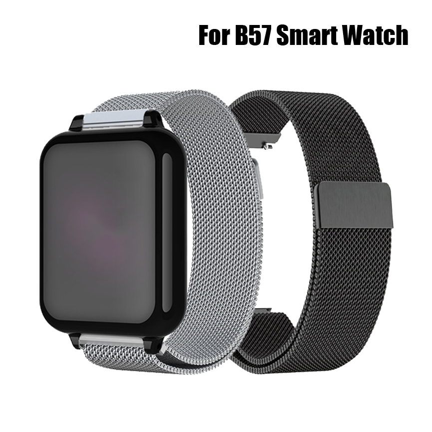 Watch Strap For B57 Smart Watch Stainless Steel Milanese Magnetic Closure Loop Replacement Watch Band Bracelet 16mm