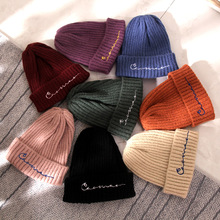цены Winter Hats for Women Wool Beanies Hat Warm Solid Letter Embroidered Knitted Hat Ins Han Male Hip Hop Beanies for Men
