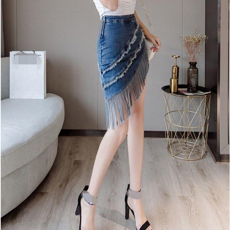 Wrap Skirt Korean-Fashion Shorts High-Waist Mini Denim Women Slim-Fit Tassel Streetwear