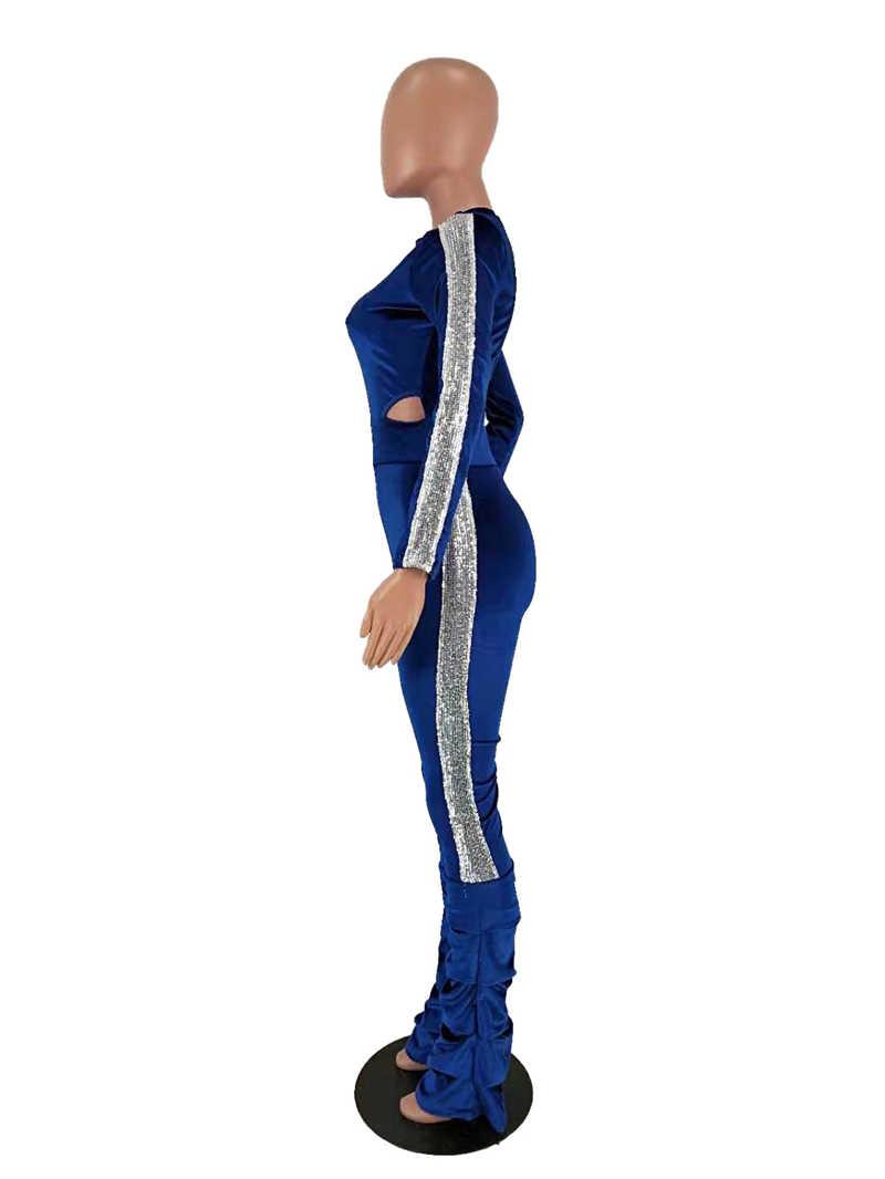 Royal Blue Vrouwen Fluwelen Tweedelige Set Kant Pailletten Coltrui Lange Mouw Bodysuit Top Ruches Broek Kerst 2 Stuk Bijpassende set