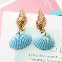 Fashion Colorful Cowrie Shell Earrings For Women Earring Bohemian Gold Statement Drop Dangle Earrings Sea Shell Beach Jewelry(China)