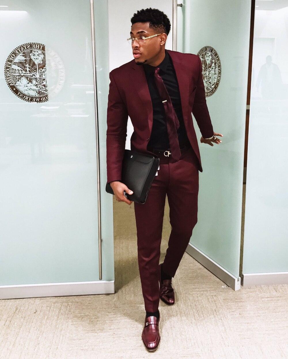 New Fashion Burgundy Slim Men's Suit 2 Piece Mens Suits Blazer Custom Elegant Tuxedo Bridal Dance Party Jacket Dress 1