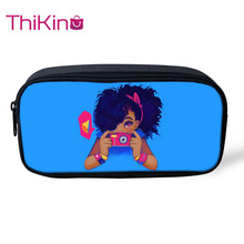 Thikin Afro American Baby Girl Casual Pencil Bags Pen Bag for Boys Case Student Makeup Storage HandBags Purses Kids