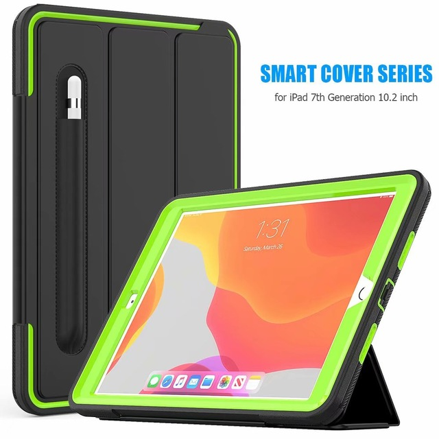 Green Green For iPad 10 2 2019 smart Shockproof Armor Kickstand Case For ipad 7th generation case 10