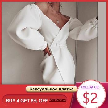 Dressv Evening Dresses Long Lantern Sleeve Deep V Neck Pleated Split Elegant Solid White Black Indoor Sexy Night Party Dress