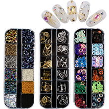 15 Styles 3D Nail Rhinestones Stones Colorful Decals Crystals DIY Nail Stickers Diamond Sequin UV Gel Decoration Nail Accessory