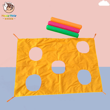 2*1.45M Children Games Parachute with Holes Rainbow Umbrella Educational Outdoor Sports Toys Fun Kindergarten Kids Ballute 7m 8m 9m 10m diameter outdoor rainbow umbrella parachute toy jump sack ballute play for kids