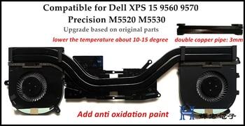 New Stille Laptop CPU Kühlung Kühlkörper Für Dell XPS DELL XPS15 9560 9570 M5520 M5530 Kühlkörper assmebly Upgrade version Getestet