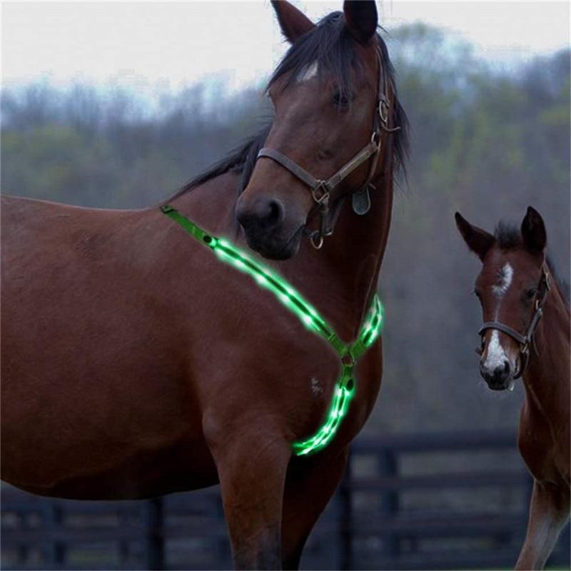 LED Horse Riding Belt Waterproof Nylon Horse Chest Belt Night Visible Breastplate Equitation Lighting Equestrian Equipment 3