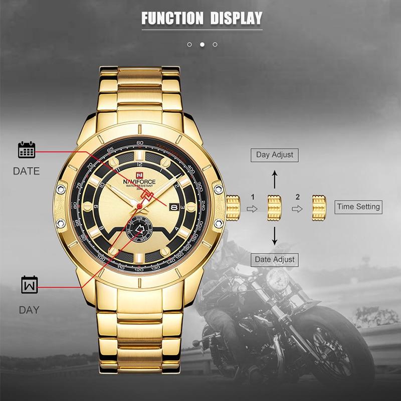 Image 3 - Luxury Brand NAVIFORCE Men Steel Strap Gold Watch Mens Quartz Clock Date Sport Waterproof Wrist Watches Relogio Masculino 2019-in Quartz Watches from Watches