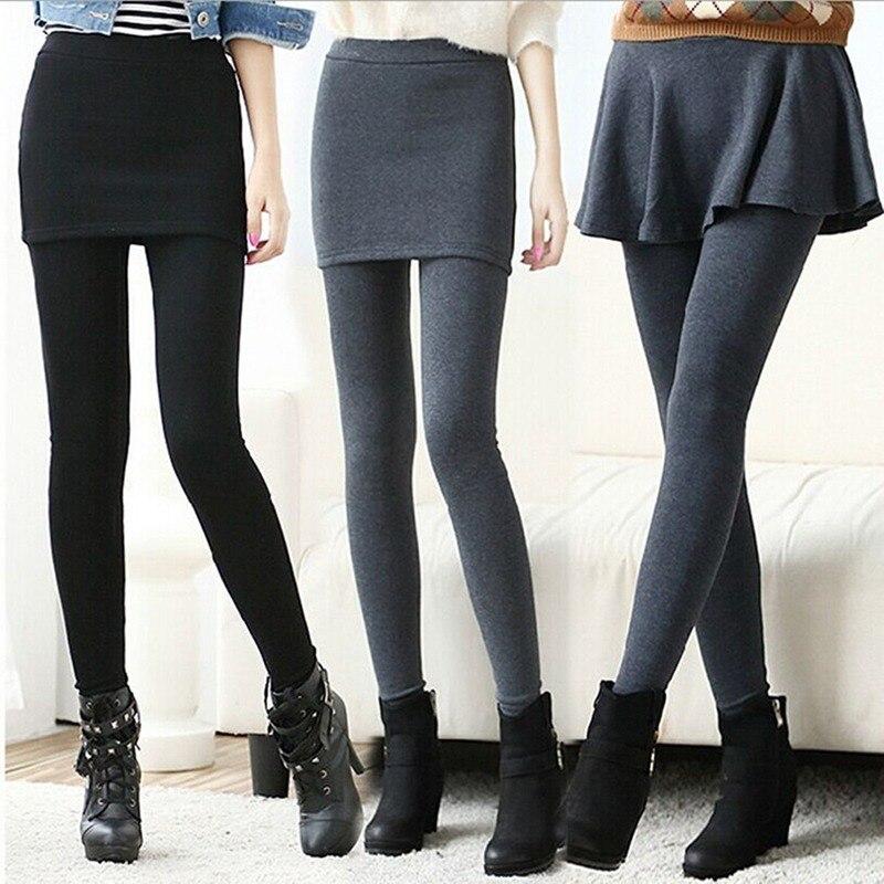 Women Leggings Thick Warm Boot Fleece Legging Pleated Ankle-Length Leggins Pant Female Leggings With Skirt Autumn Winter Trouser
