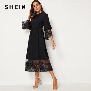 Image 5 - SHEIN Elegante Mock Neck Stickerei Organza Manschette und Saum Lange Kleid Frauen Herbst Fit und Flare Kleid Reich Abaya kleider